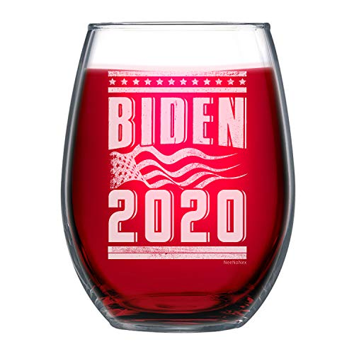 NeeNoNex Biden 2020 with American Flag Stemless Wine Glass