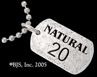 """Natural 20"" Sterling Silver Geek Tag"