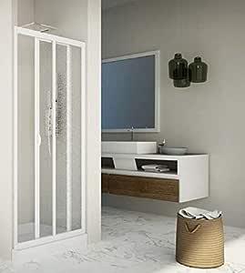 Puerta ducha deslizante Acrílico y PVC Blanco nicho h.185 cm ...