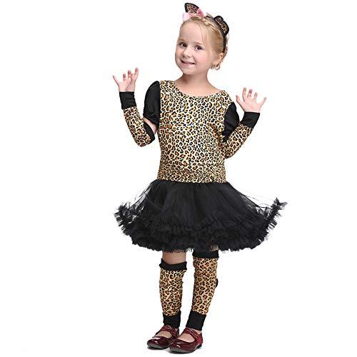 Kids Girls Leopard Halloween Cosplay Costume Cheetah Cat Tutu Fancy Dress (4-5)