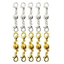 Bluecell Pack of 10 Pcs Gold Color and Silver Color Ball Tone Magnetic Lobster Clasps for Jewelry Necklace Bracelet