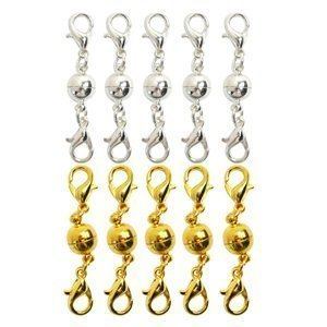 Magnetic Necklace Jewelry (Bluecell Pack of 10 Pcs Gold Color and Silver Color Ball Tone Magnetic Lobster Clasps for Jewelry Necklace)