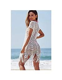 New Lace Tassel Mesh Sexy Hollow Beach Coat Bikini Blouse Swimsuit Outside Hood Clothing Female