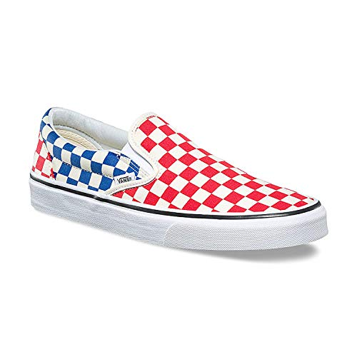 Classic Slip On (Checker) Red/Blue,Size 11 M US Women / 9.5 M US Men