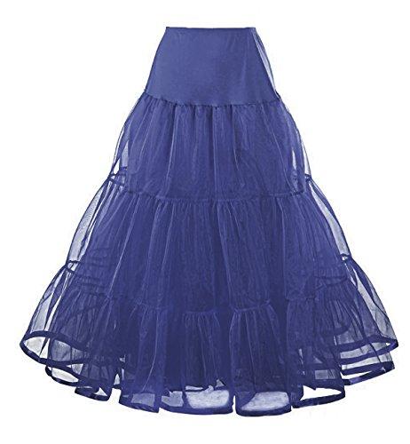 Facent Mujeres 100cm 2 Niveles Tutu Falda Organza Enaguas Azul Marina