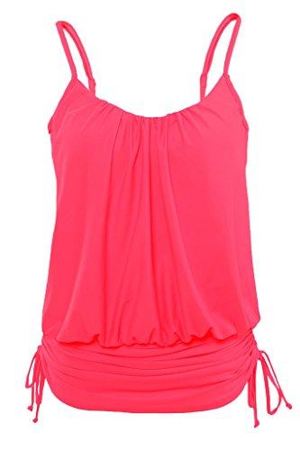 Strap Tank Swimsuit (Aleumdr Womens Summer Thin Straps Shoulder Tank Tankini Top Padded Tankinis Swimsuit Swimwear Plus Size 2xl Pink)