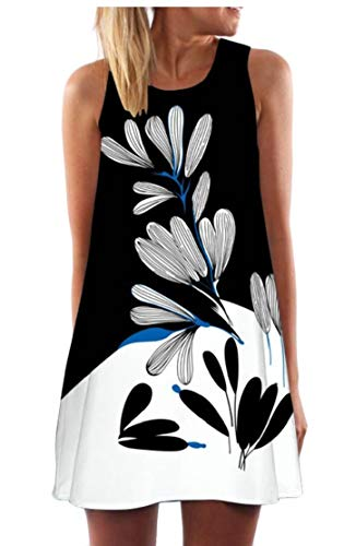 Esast Women Fashion Loose Casual Sleeveless 3D Floral Print Bohe Tank Short Mini Dress 21 S