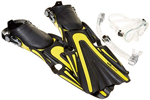 (Mares Volo Power Fin Mask Snorkel Scuba Diving Gear Set, Yellow, Small, (6-9) )