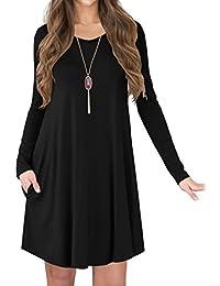 Women's Long Sleeve Casual Swing Loose Pockets T-Shirt Dress