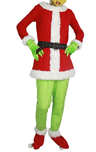 How The Grinch Stole Christmas Movie Cosplay Grinch Full Set of Costume XL
