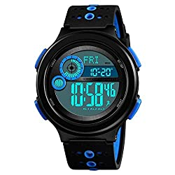 Men's watch Sports Luminous Watch - Watertight Dual Time Countdown Electronic Smartwatches Dispaly Compass,Countdown,Alarm Clock,Calorie Calculation,Sports Mileage World Time,Time Alarm,Night Light,Me