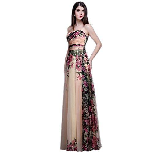 ... Wewind Damen Trägerlos Abendkleid Brautjungfernkleid Chiffon Kleid  Blumen-Print Maxikleid mit Schnürung Schwarz 2qAbO6W ... affd6cf0d1