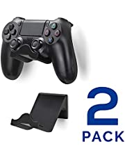 Brainwavz PS4 Game Controller Wall Hanger Stand Mount Holder (2 Pack) - Dualshock Gamepad Accessories (Improved Adheasive Nov2019) (Black)