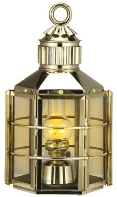 Coastal Christmas Tablescape Décor -  Tall Nautical Polished Brass Clipper Ship Electric Lantern by HS
