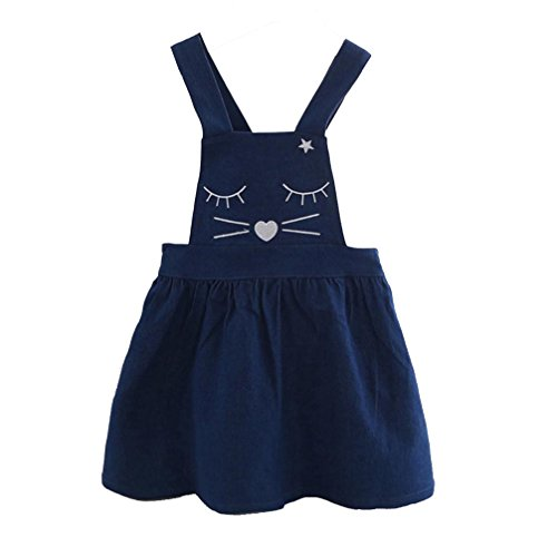 Fabal Toddler Kids Baby Girl Cat Denim Print Princess Dress Sleeveless Overalls Dress (5T, Blue) - 80's Denim Costumes
