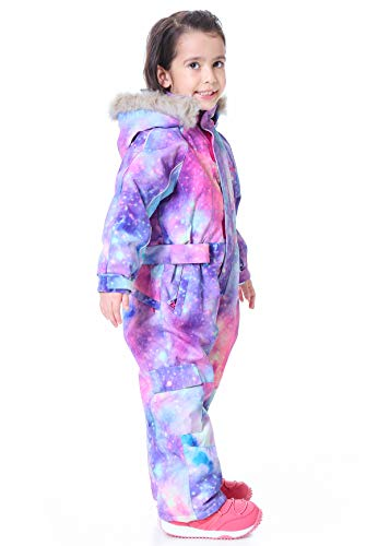 SNBOCON Kids Waterproof Colorful One Piece Coveralls Ski Suits Snowsuits Winter Jumpsuits Snowboarding (120,PPL)