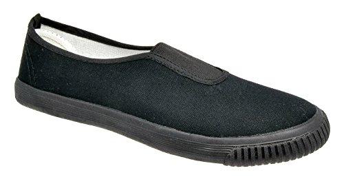Mens DEK Canvas Plimsoll Shoes Black q6peF0GM