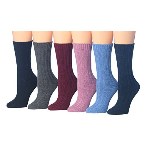 Tipi Toe Women's 6-Pairs Ragg Marled Crew Wool-Blend Boot Socks, (sock size 9-11) Fits shoe size 6-9, BT16-A