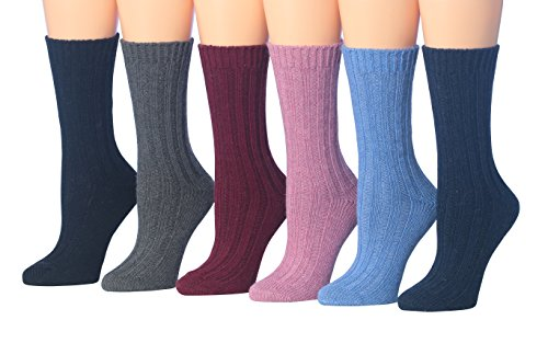Blend Sock Boot (Tipi Toe Women's 6-Pairs Ragg Marled Crew Wool-Blend Boot Socks, (sock size 9-11) Fits shoe size 6-9, BT16-A)