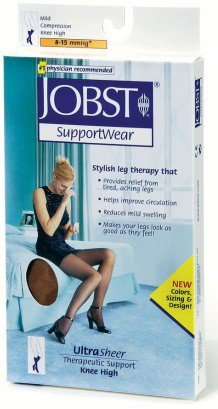 Jobst Ultrasheer Supportwear 8-15 mmHg Knee High Mild Compression Stockings Extra Small Made in Italy Taupe Extra Small