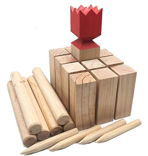 Aftergen Kubb Viking Chess Lawn Game All Wood Back Yard Games Deluxe Kubb Game Premium Set Beach Games Regulation Size (Deluxe)