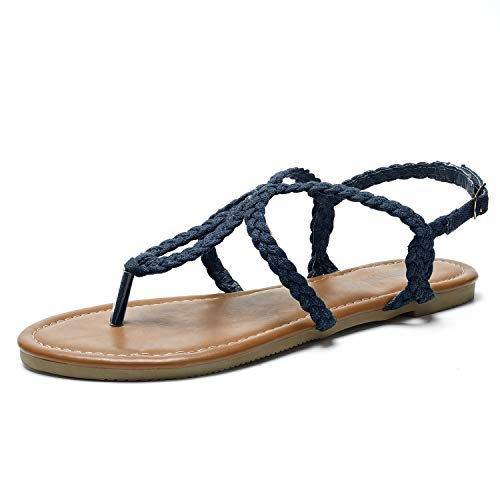 SANDALUP Flat Sandals Hand-Woven with Canvas for Summer Women. Navy Blue 10.5 ()