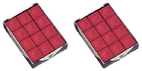 One Dozen Red Silver Cup Pool Cue Chalk - 2 Pack