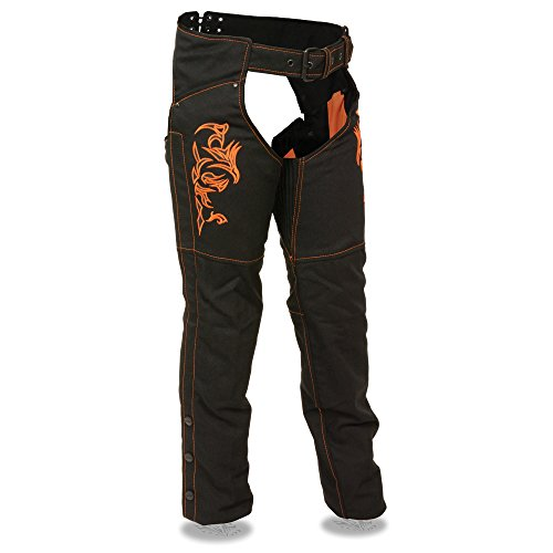 Shaf Nylon Womens Chaps Womens Textile Chap Tribal Embroidery / Reflective Detail - Small - Orange