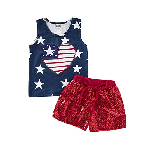 (2Pcs Set Independence Day Toddler Kids Baby Girl Sleeveless T-Shirt Top+Red Sequins Shorts Outfits (Blue + Red, 3-4)
