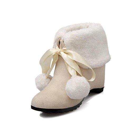 Heart&M Mujer Botas Botas de nieve Aterciopelado Otoño Invierno Casual Tacón Cuña Negro Amarillo Almendra 75 - 95 cms almond