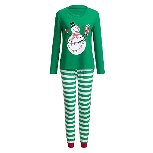 Franterd Holiday Christmas Pajamas Set Mommy Daddy & Me Green Xmas Snowman Print Blouse + Strip Pants for Couples and Kids
