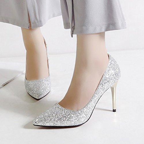 Calaieri Femmes Calaaei Pointu Toe 9cm Pompes À Enfiler Chaussures Argent