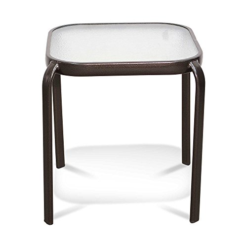 Never Rust Aluminum and Glass Outdoor End Table in Bronze ()