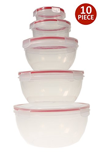 (Handi-Ware 10-Piece Mixing Bowl Set - Leak Resistant - Snap Lids - BPA Free - Freezer Safe - Dishwasher Safe - Microwave Safe - Durable And Easy To Clean, by Unity )