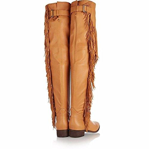 Mujer Borla Boda Plana Con Botas Suede Para De Tacón Winter Planas Punta La Comfort Brown L yc Zapatos Fiesta Alto Moda amp; Fall RFxSqtaq