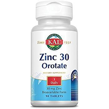 KAL® Zinc Orotate Sustained Release 30mg | Nutritive Support for Normal, Healthy Protein Synthesis, Proper Growth, Energy & Metabolism | 90 Tablets