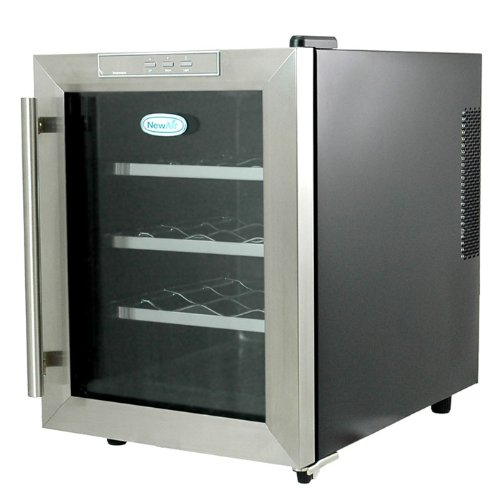 NewAir STAINLESS 12 Bottle Thermoelectric Wine Cooler w/ Slide-Out Shelves & LED Light image