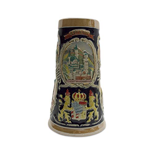(Beer Stein Bayern German Village Scenes Engraved Beer Mug by E.H.G. | 1 Liter)