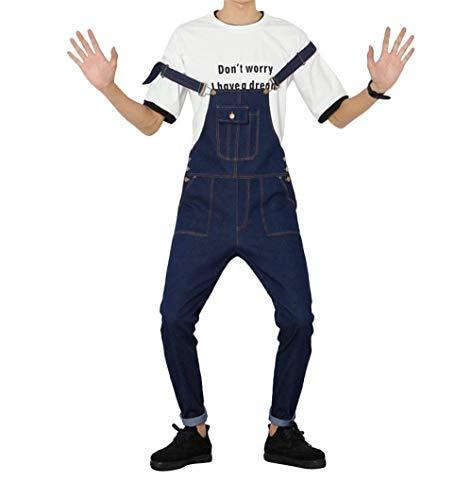 Denim Jeans Blu Leg Da Comodo Hop Vintage Casual Hip Lunghe Con Maniche Salopette Fit Dunkelblau Slim In Uomo Battercake Indaco 6qg8wRnO