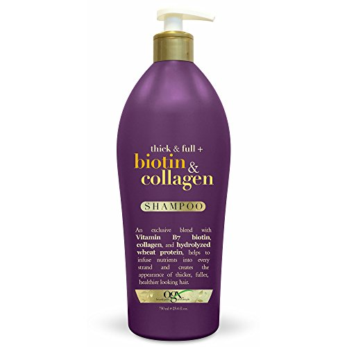 OGX Thick & Full Biotin & Collagen Shampoo, Salon Size, (1) 25.4 Ounce Bottle, Paraben Free, Sulfate Free, Sustainable Ingredients, Nourishing and Strengthening