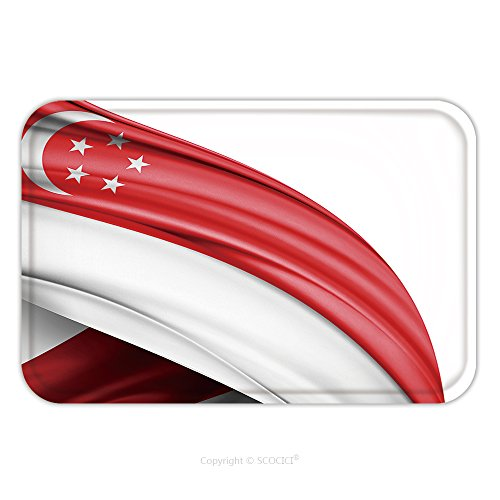 Flannel Microfiber Non-slip Rubber Backing Soft Absorbent Doormat Mat Rug Carpet Singapore Flag Of Silk With Copyspace For Your Text Or Images And White Background 332425619 for (White Rabbit Singapore Halloween)