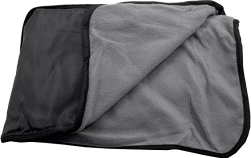 Fleece Nylon Blanket (4 in 1 Nylon Fleece Blanket – Picnic Mat - Seat Cushion - Pillow (Black/Grey))