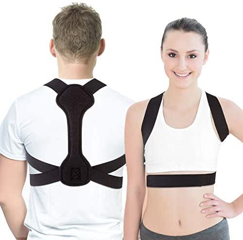 MDHAND Back Posture Corrector for Women & Men with Magic Stickers Adjustable Upper Back Brace Clavicle Support for Pain Relief from Neck, Back Shoulder (S/M)