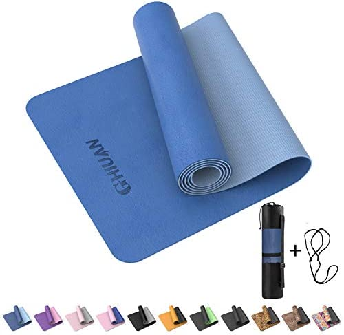 GHIUAN Yoga Mat,1/4 TPE Fitness Exercise Mat Non-Slip Thick Yoga mats for Women Workout Exercise Mat, Eco Friendly Yoga Pilates mat with Carrying Strap & Storage Bag