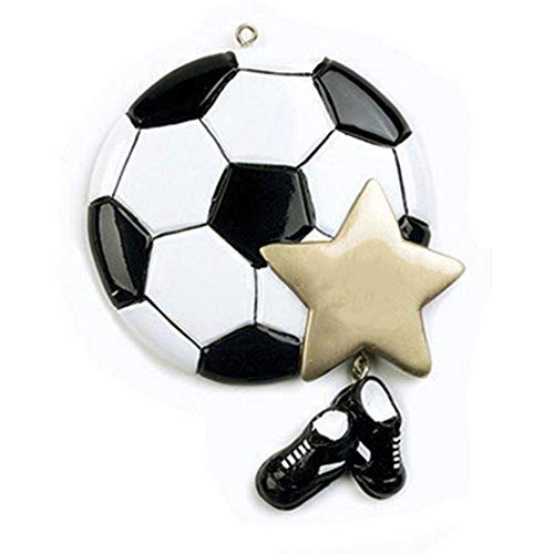 (Personalized Soccer Christmas Tree Ornament 2019 - Sports Ball Gold Star Sneakers Dangle Team Player Athlete FIFA Gift Year Coach Hobby School Active Foot Profession - Free Customization)
