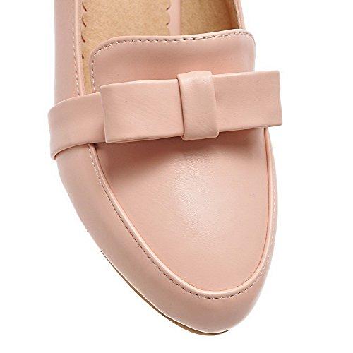 AllhqFashion Mujer Tacón Medio Sólido Sin cordones Material Suave Puntera Redonda De salón Rosa