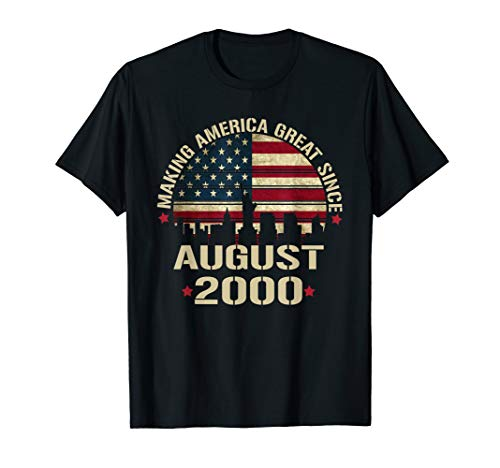August 2000 Shirt 19 Year Old 19th Birthday Gift 2000 Years