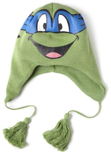 Bioworld Big Boys' Tmnt Leonardo Big Face Laplander Cap, Green, One Size (Tmnt Hat Winter)