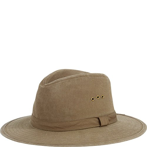 Canvas Distressed Cap - San Diego Hat Distressed Canvas Wide Brim Fedora with Grommets (One Size