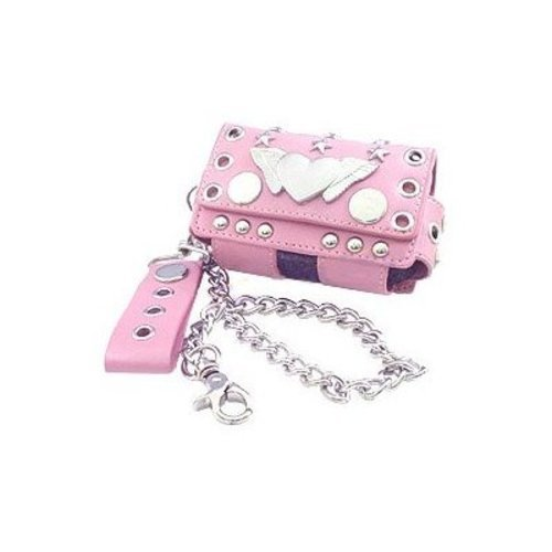 NYC Pink Rebel Heart Case with Chain for Pantech breeze 4.